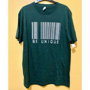 Be Unique mens funky tee shirt XL green barcode